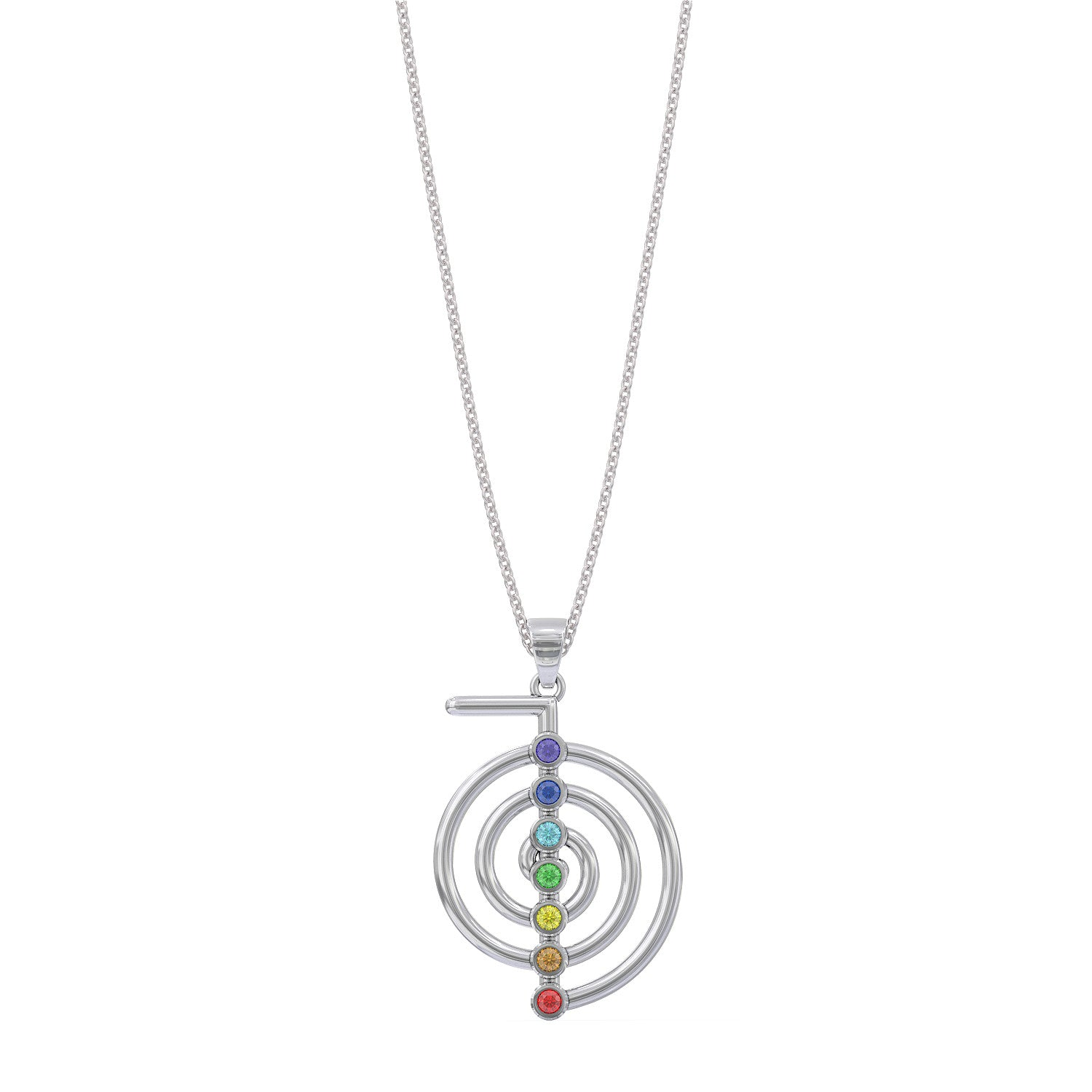 Reiki Cho Ku Rei Symbol With Chakra Stones Necklace