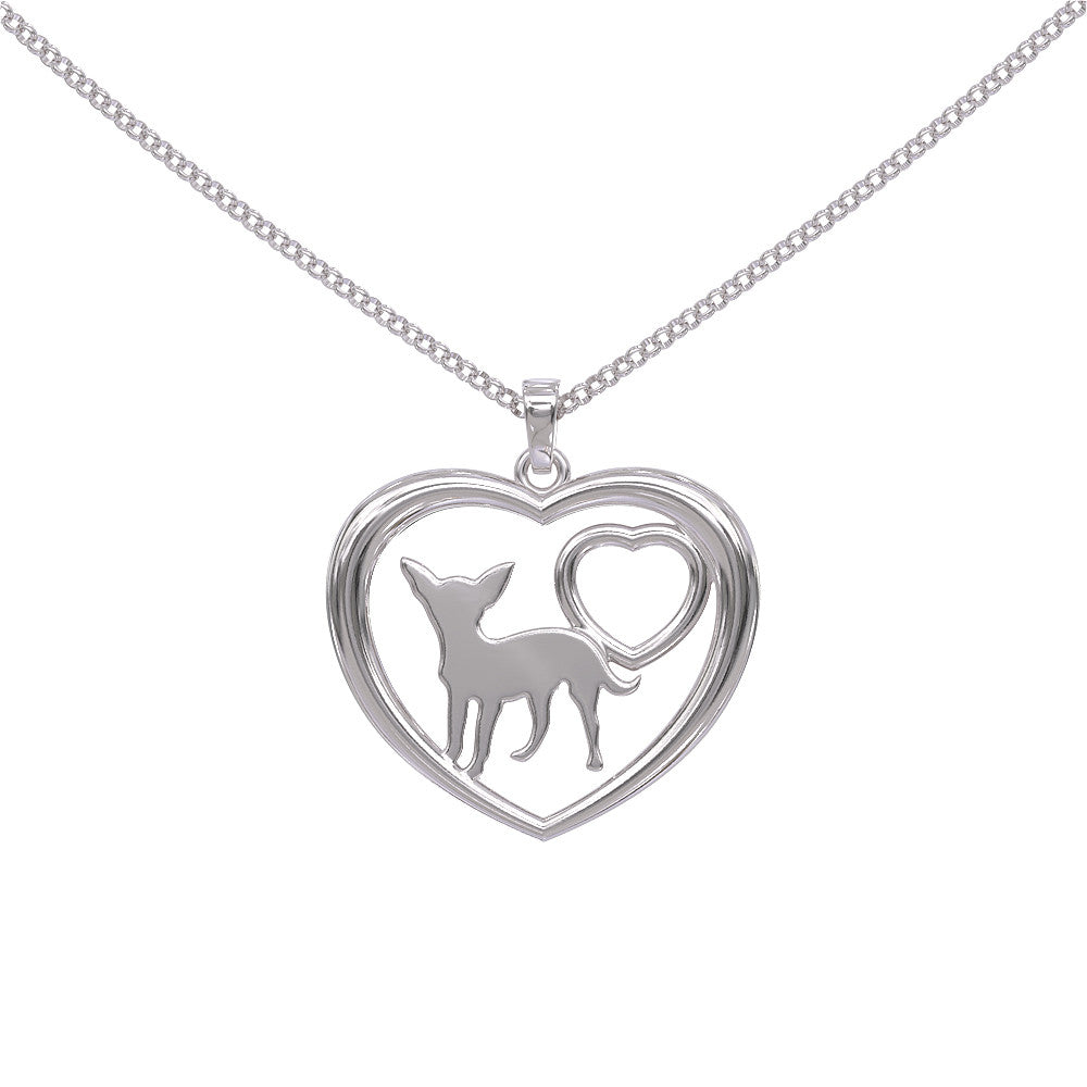 Love Chihuahua Silver or Gold Plated Pendant & Necklace