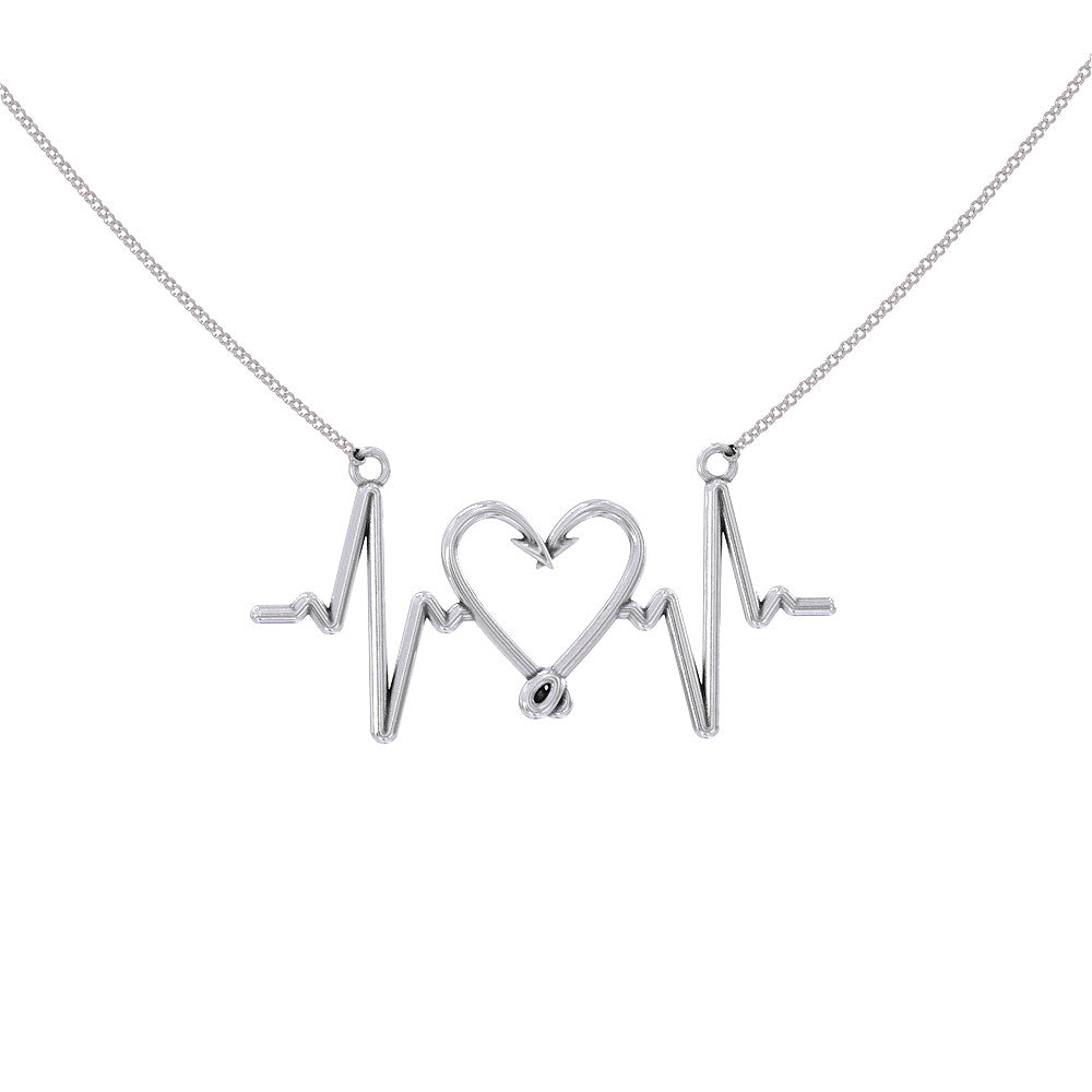 Fishing Love Heartbeat Necklace