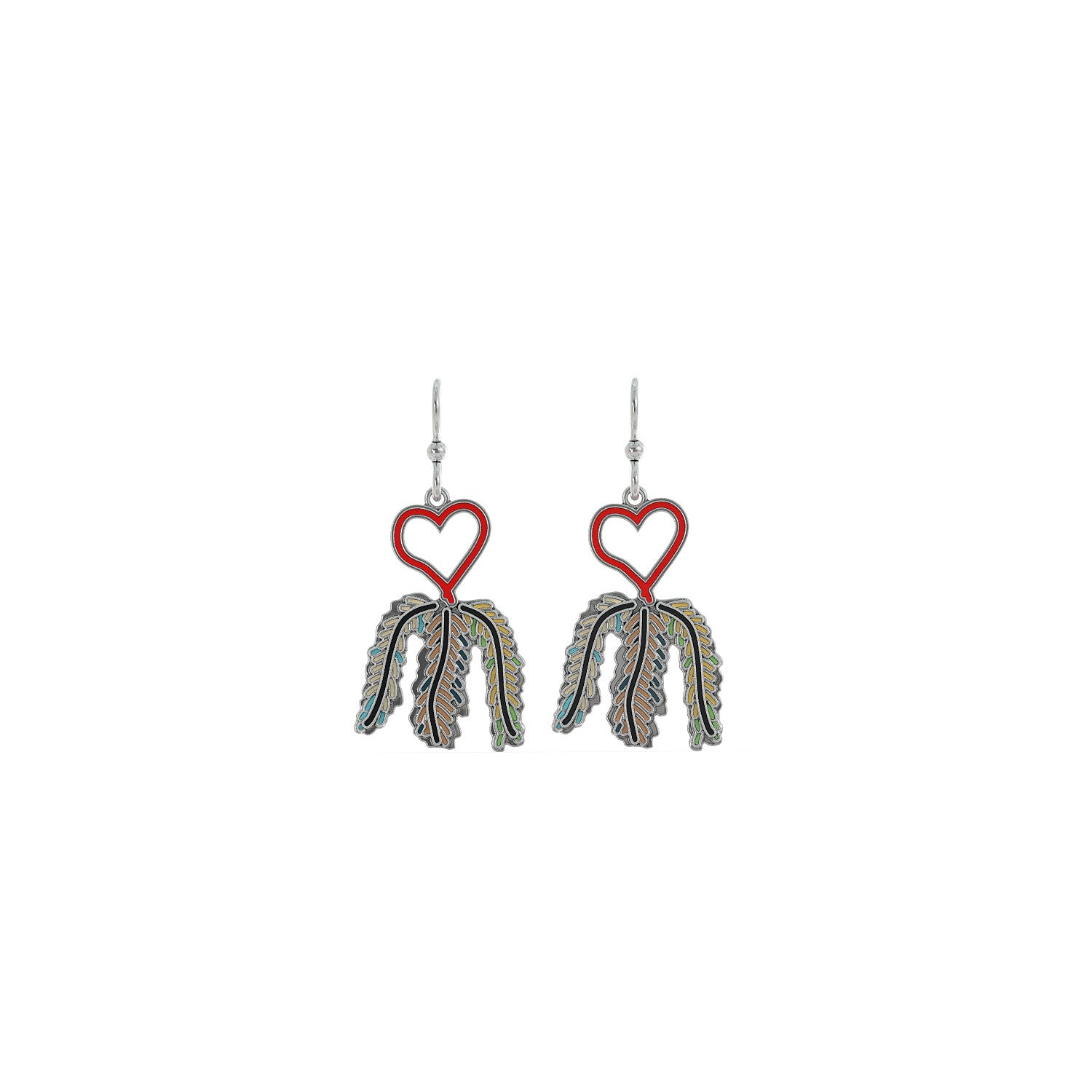 Heart and Feathers Earrings