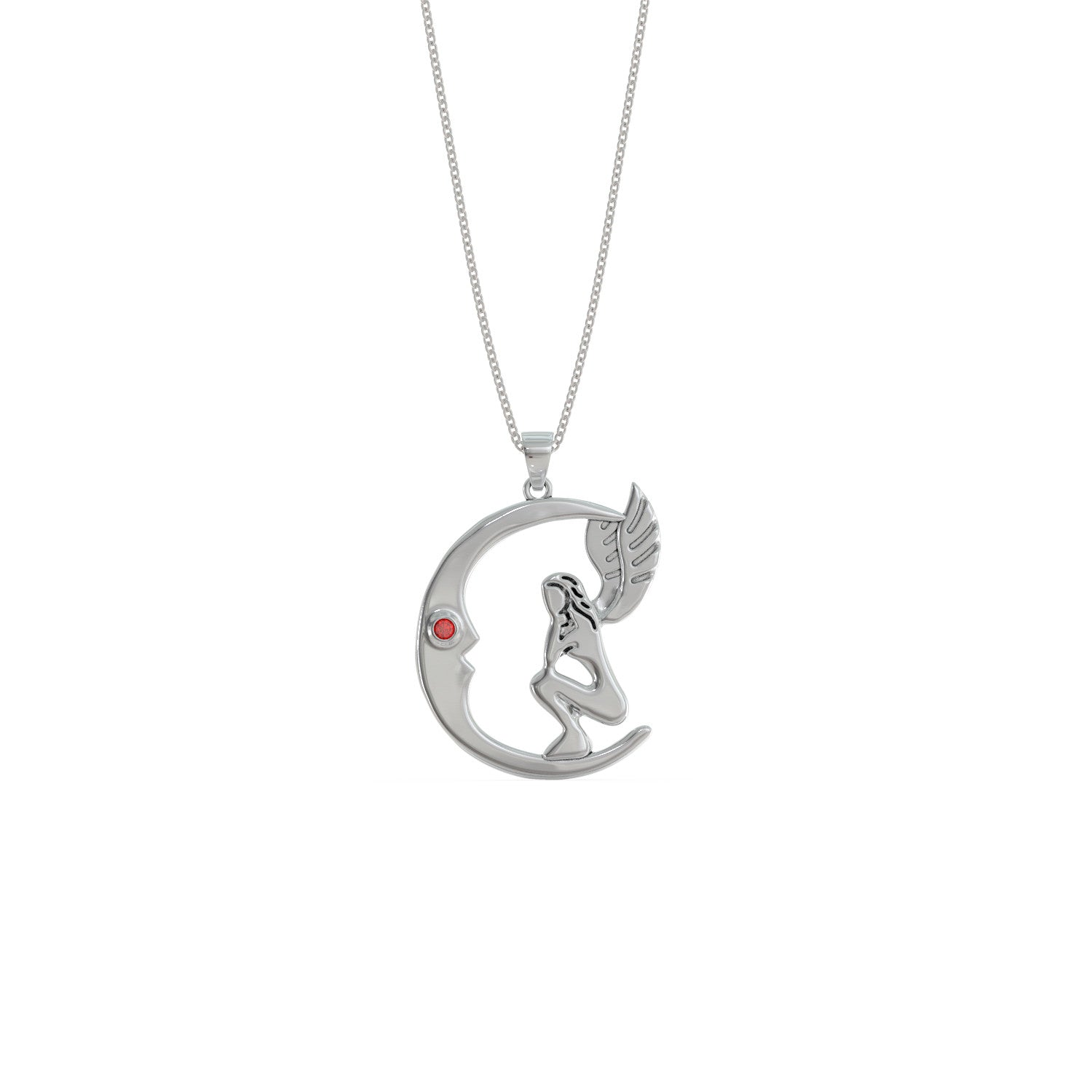Fairy on the Moon Birthstone Pendant Necklace