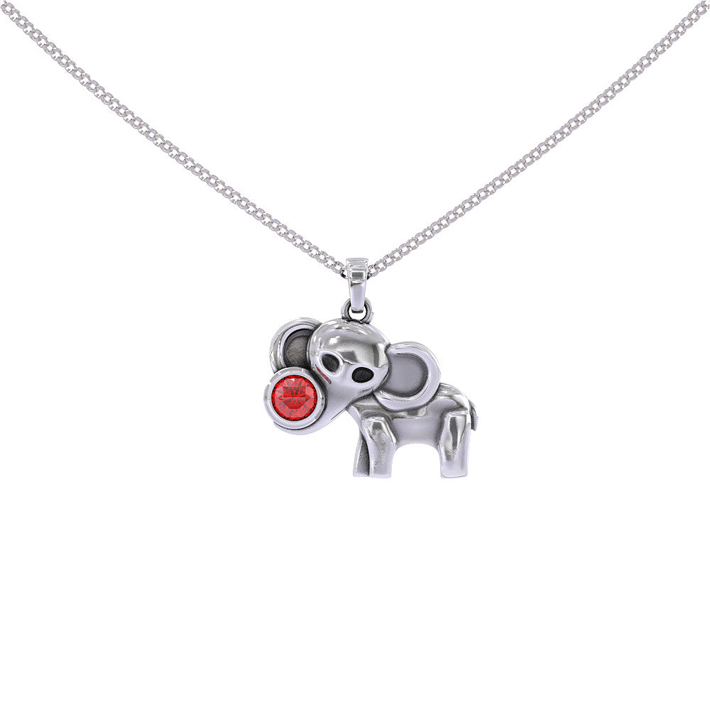 Elephant Pendant with Birthstone