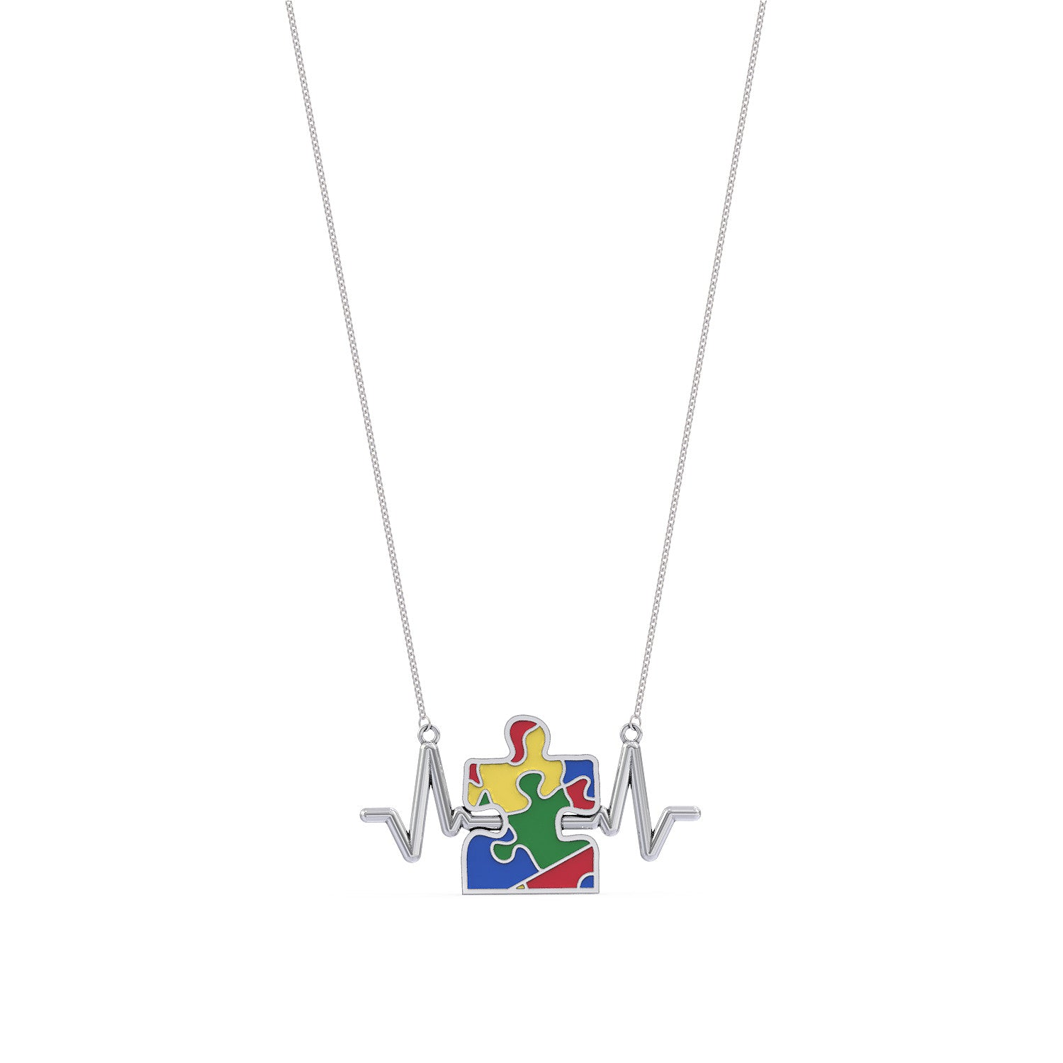 Autism Awareness Heartbeat Necklace