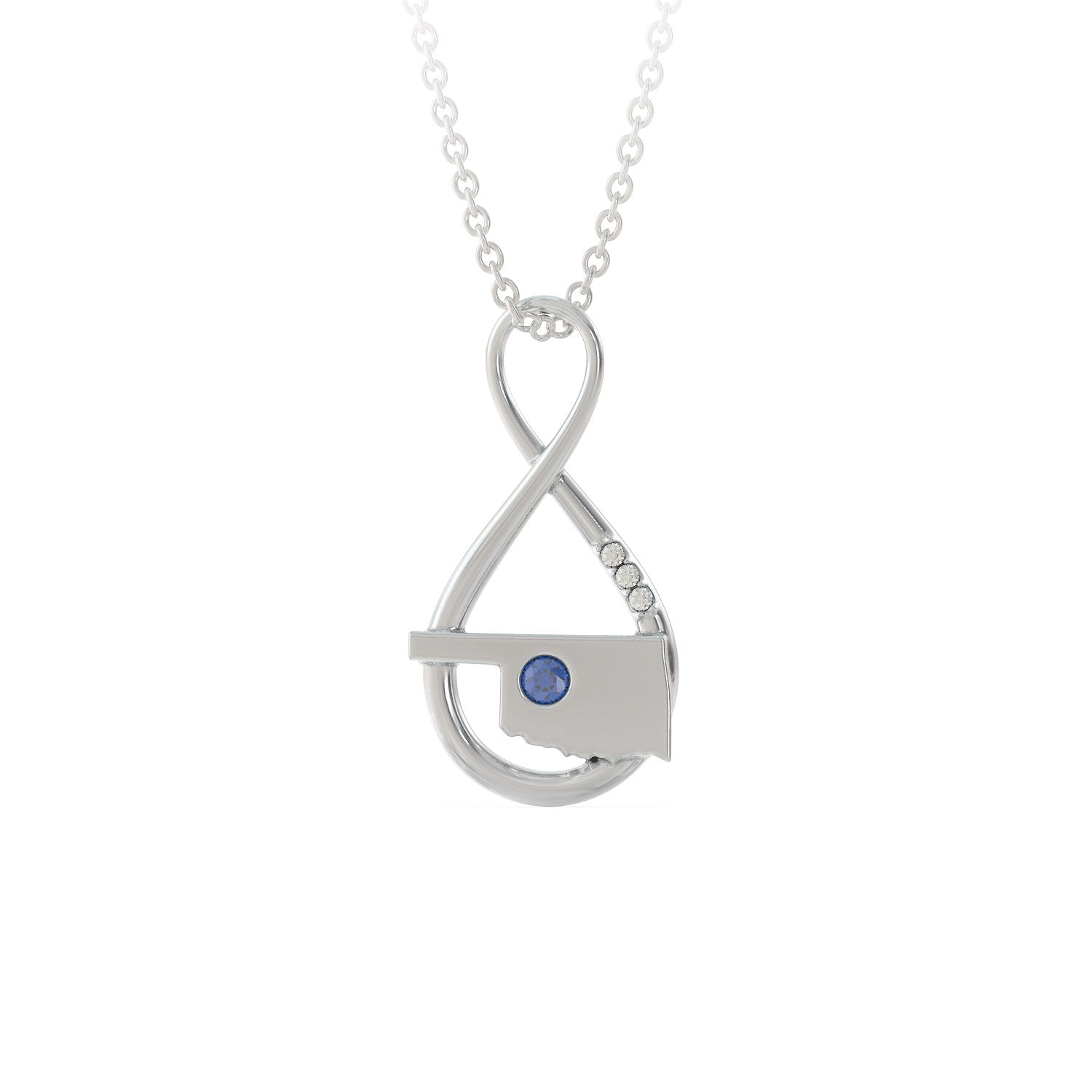 Oklahoma Caperci Sterling Silver Created Blue Sapphire Diamond Accent Infinity Pendant Necklace