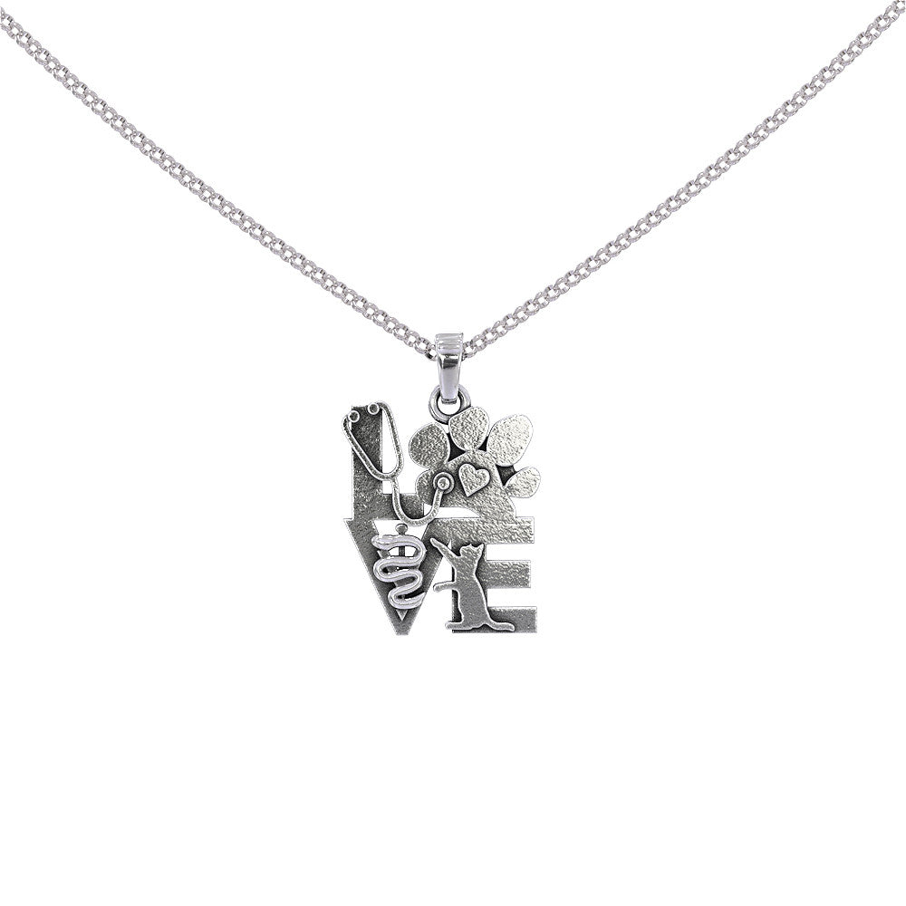 Veterinary Love Cat Pendant