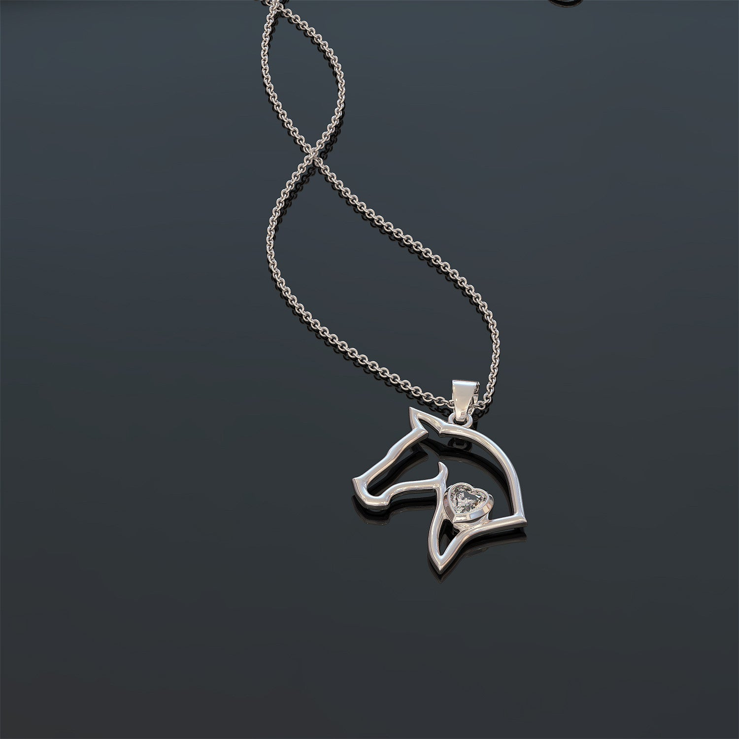 Horse Head Necklace with Birth Stone