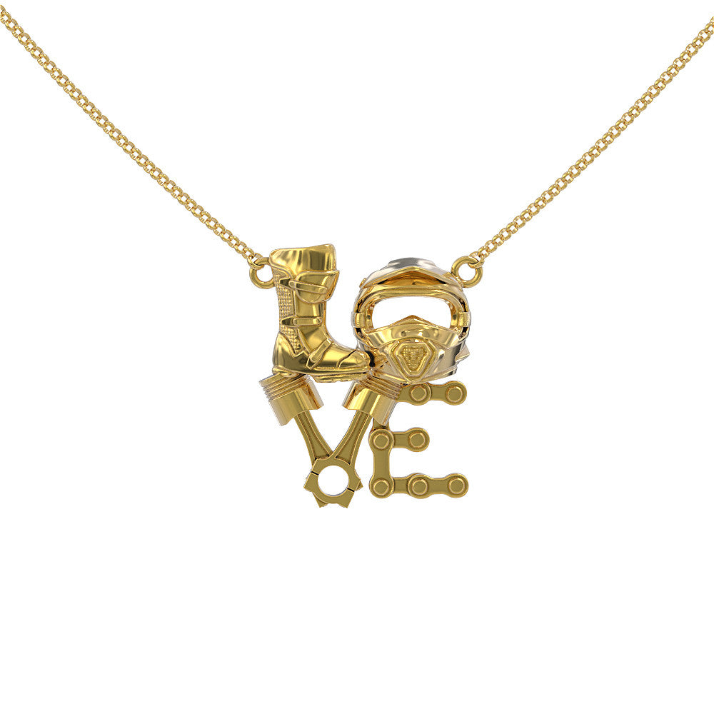 Motocross Love Pendant Necklace