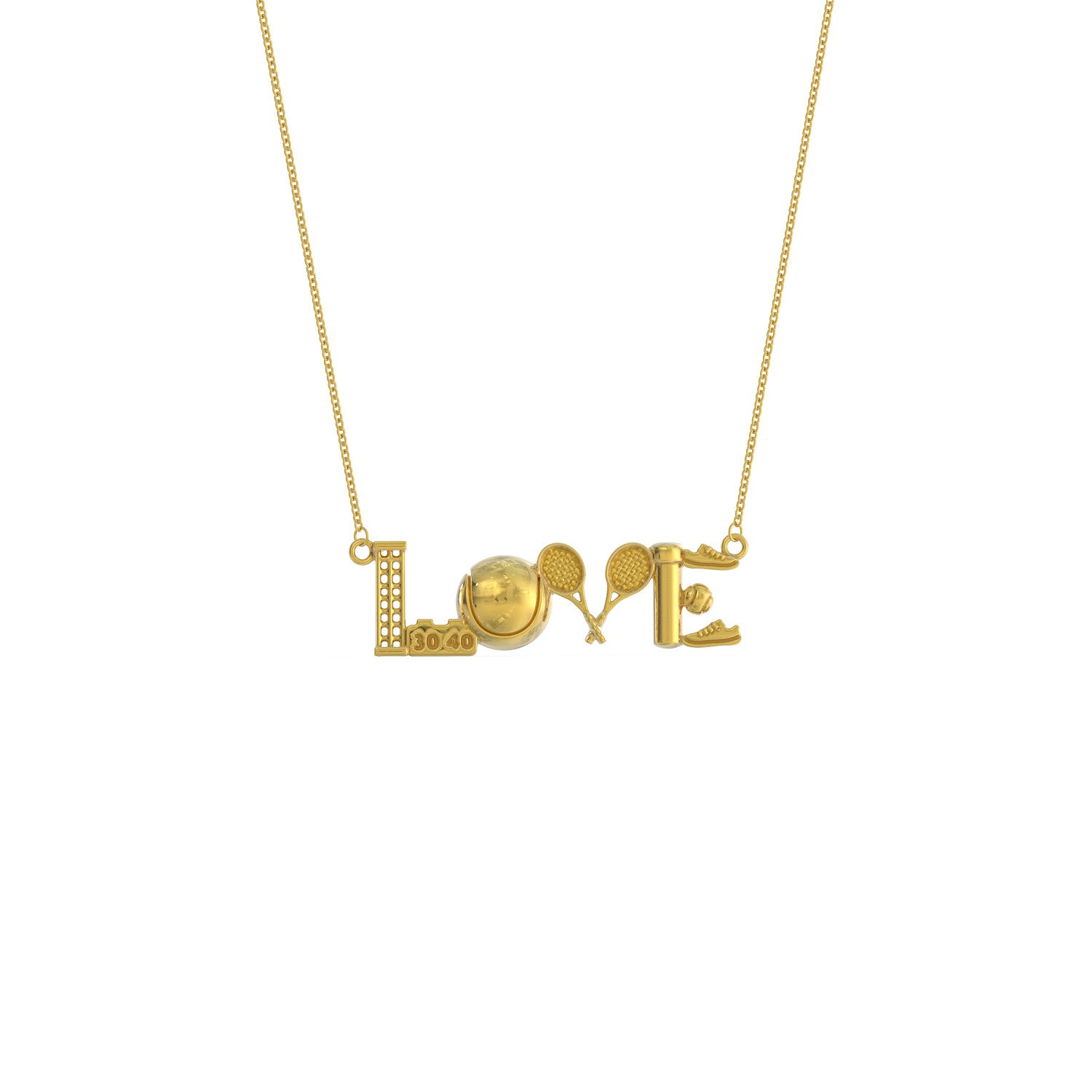 Tennis Love Pendant Necklace