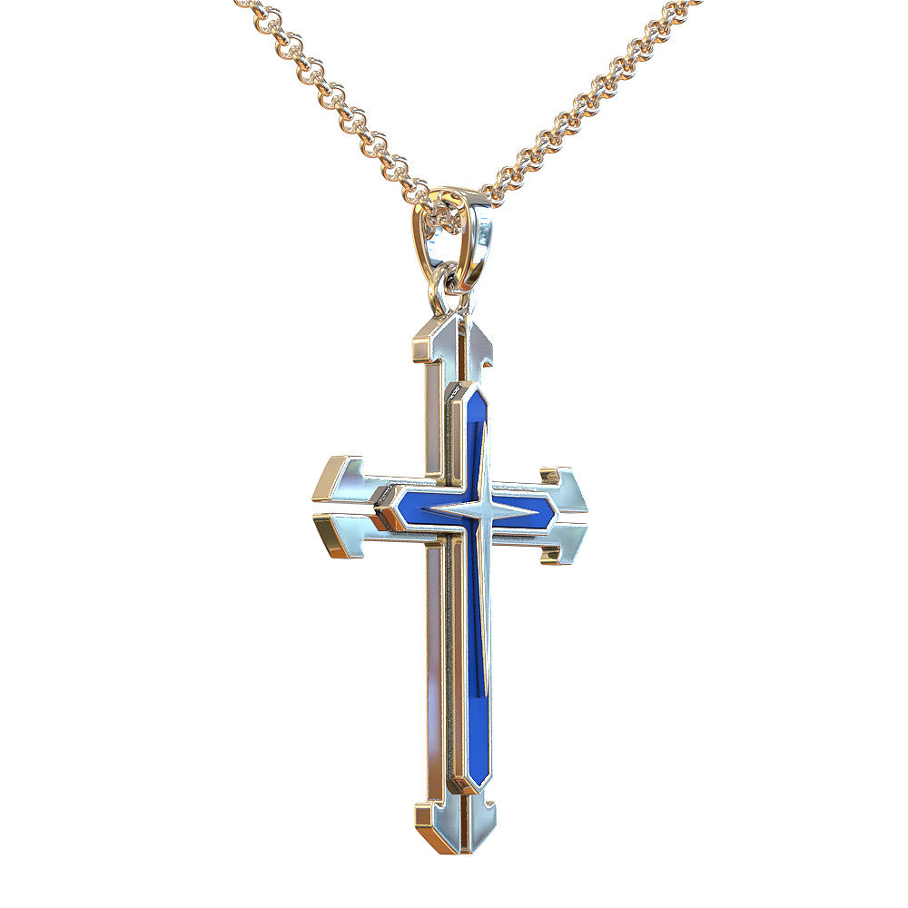 Thin Blue Line Cross Necklace