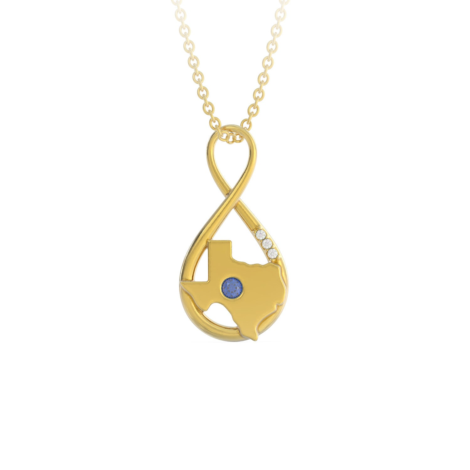 Texas Caperci Sterling Silver Created Blue Sapphire Diamond Accent Infinity Pendant Necklace