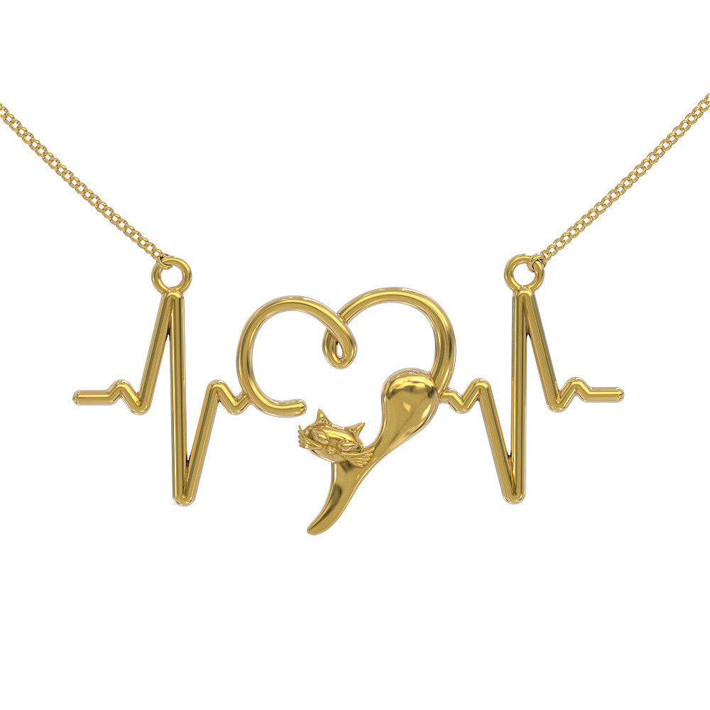Cat Heartbeat Pendant with Necklace