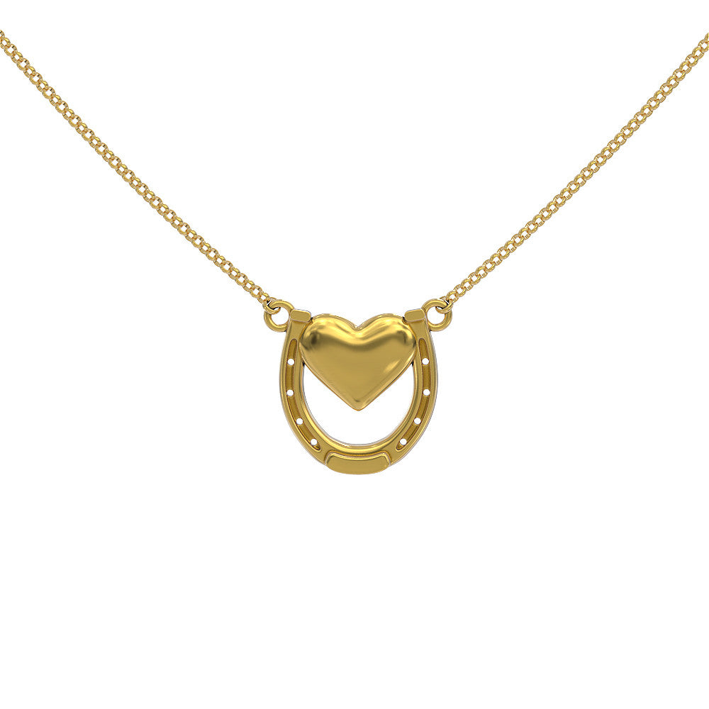 Horseshoe with Heart Necklace