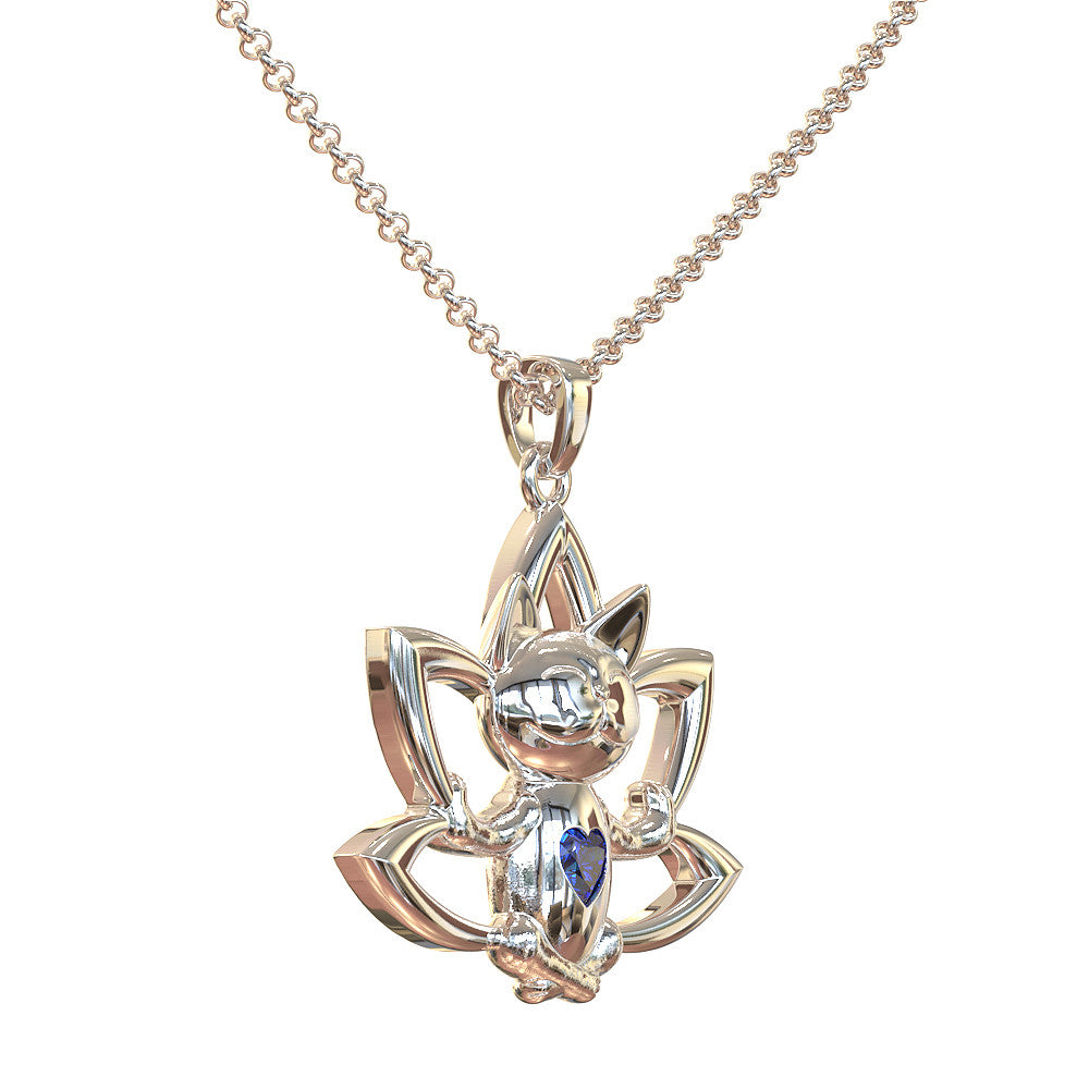 Meditating Cat & Lotus Flower with Heartshaped Birthstone Pendant