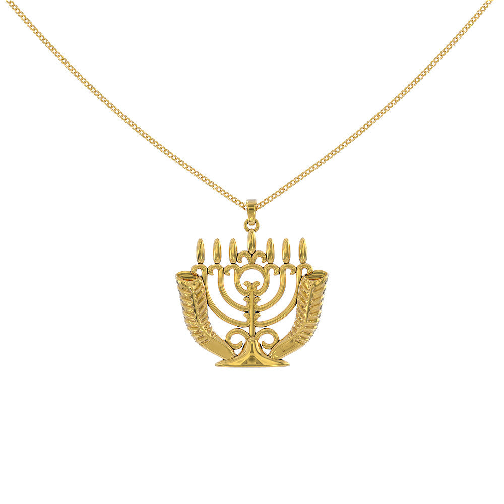 Shofar Menorah Horns Necklace