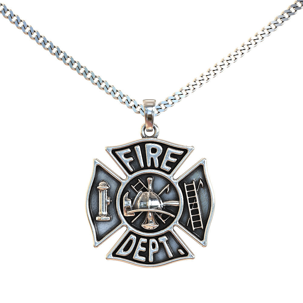charm sterling firefighter hr pendant cross maltese silver