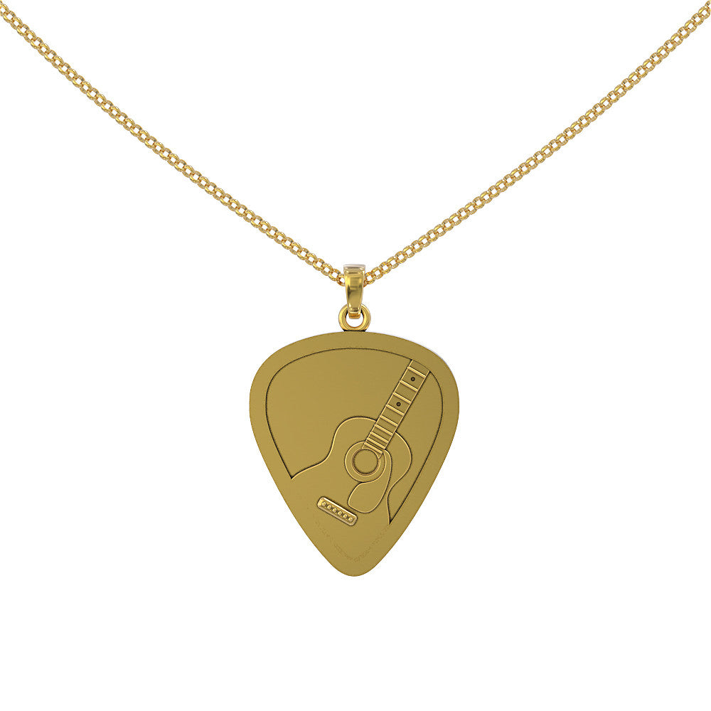 Engraved Guitar Pick Pendant (Solid Silver)