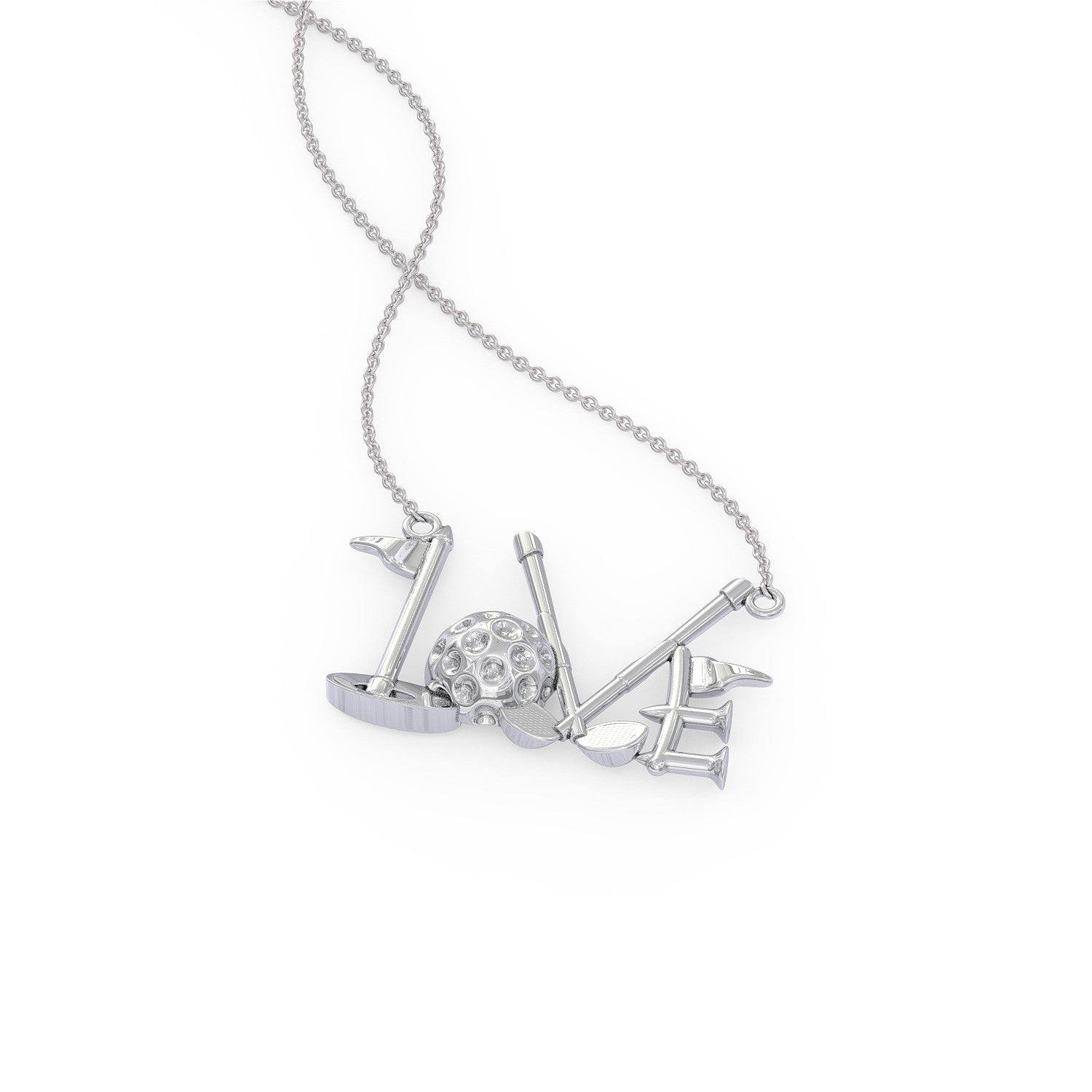 Golf LOVE Pendant Necklace