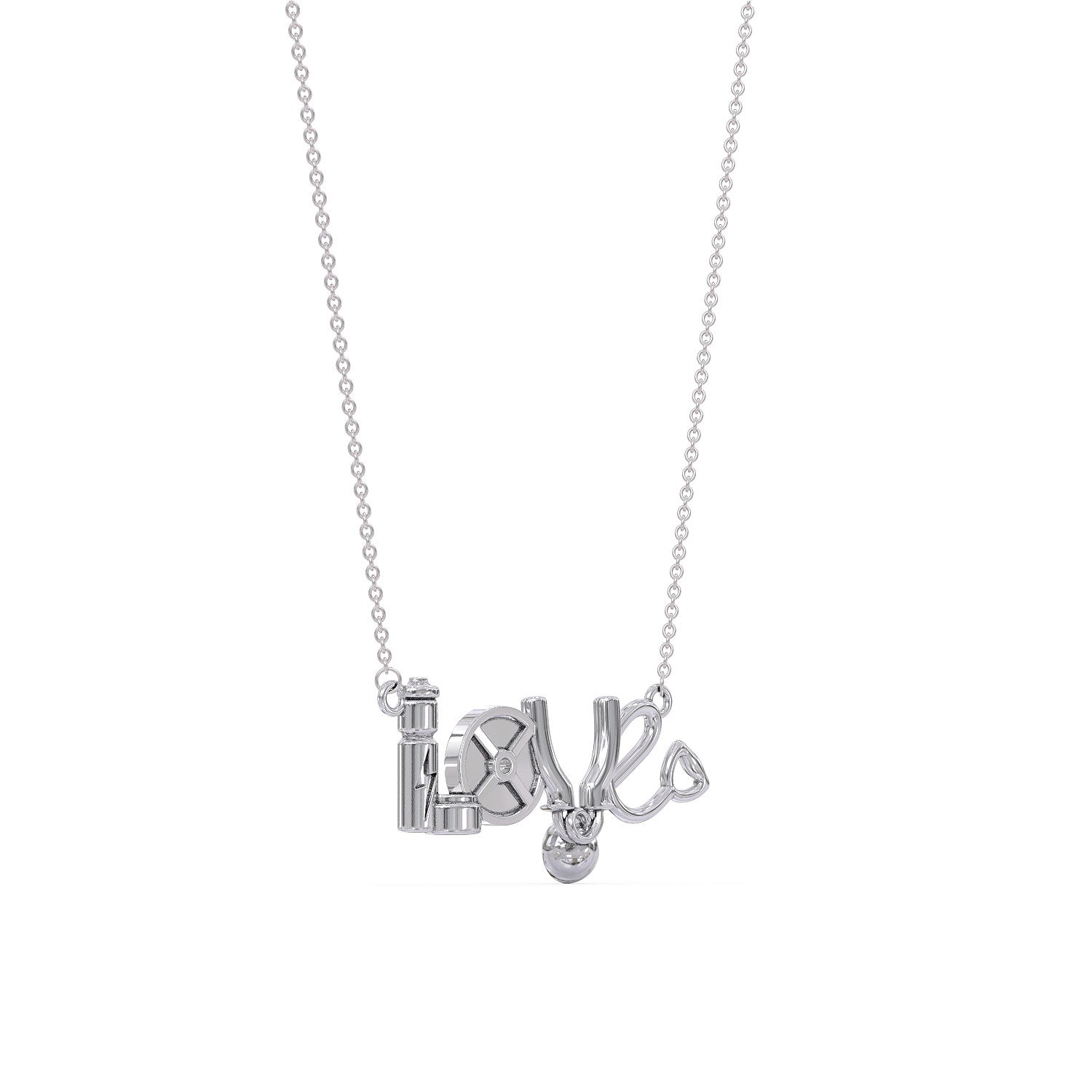Weight Training LOVE Pendant Necklace