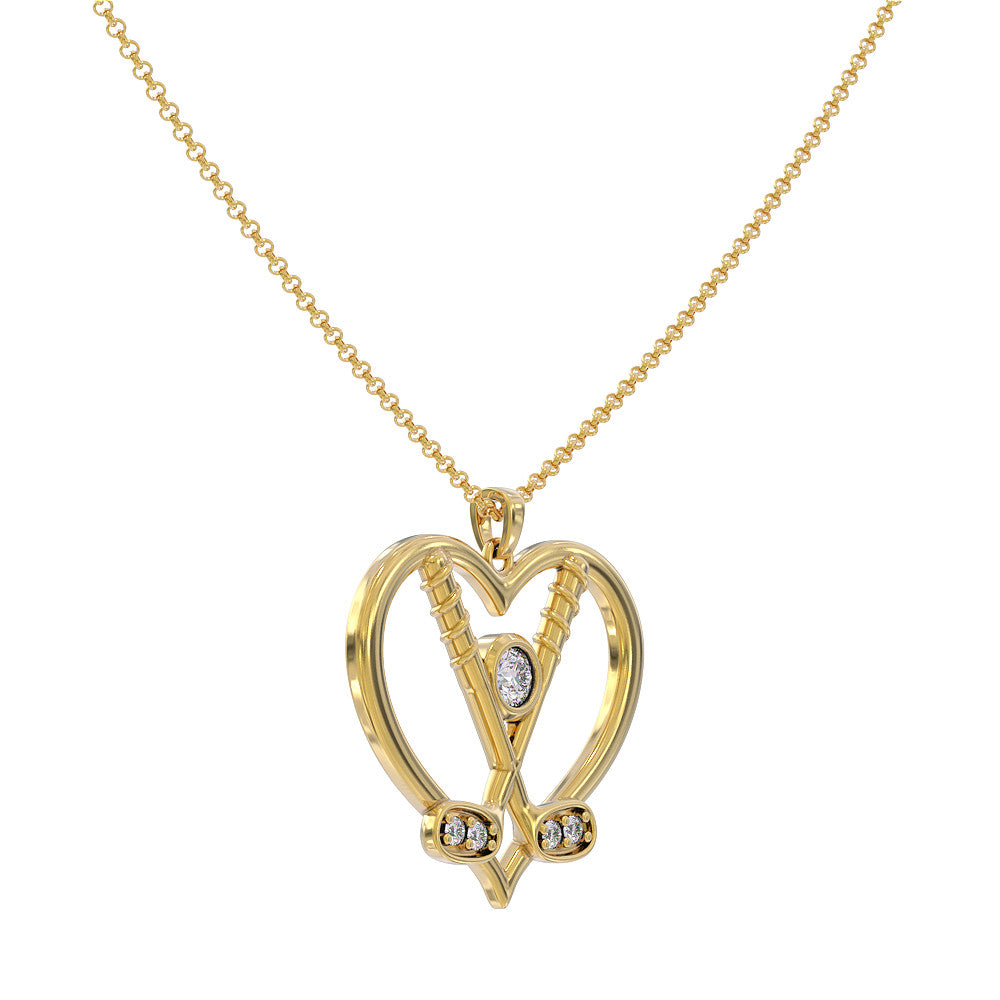 Golf Clubs Heart Pendant