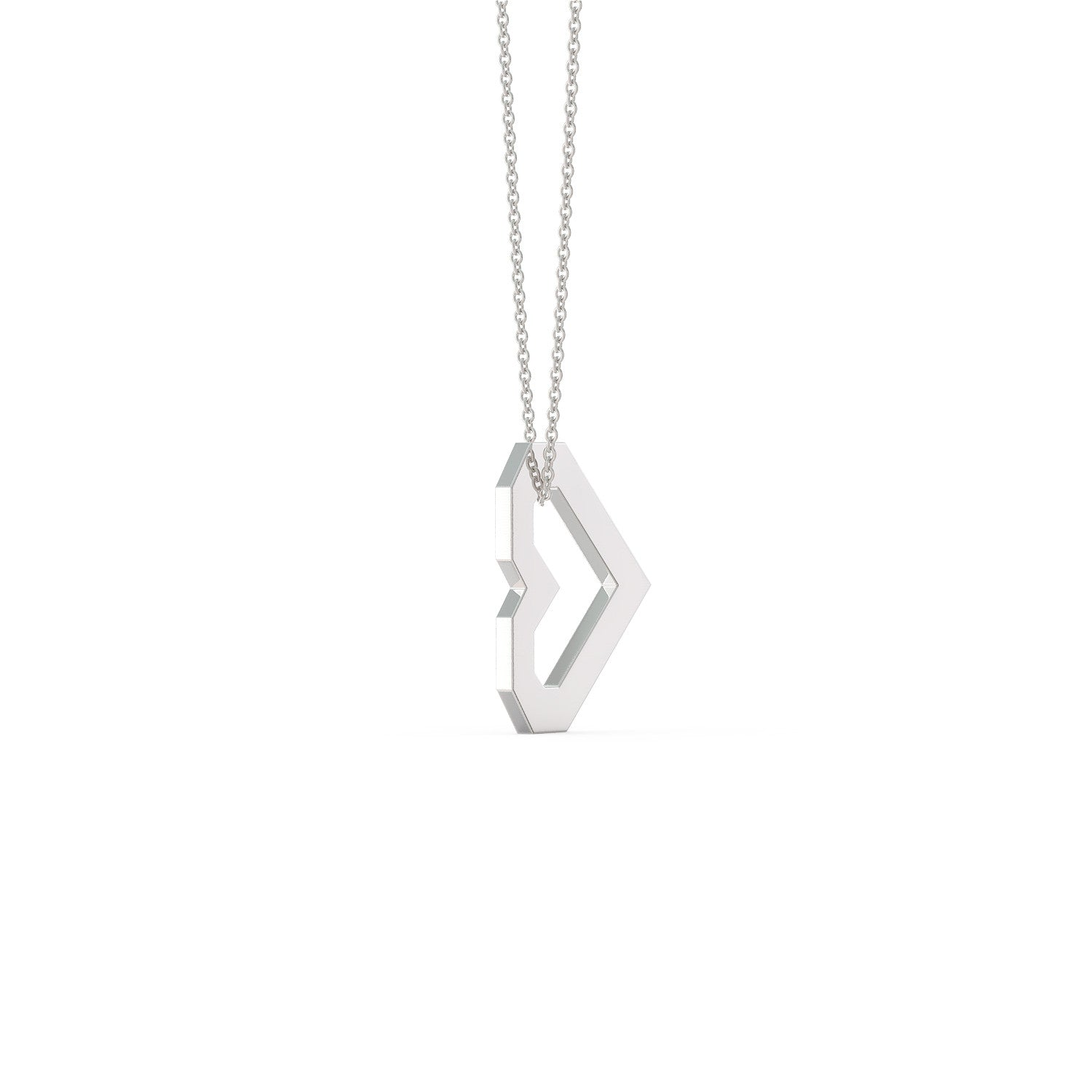 Geometric Heart Pendant Flat Necklace