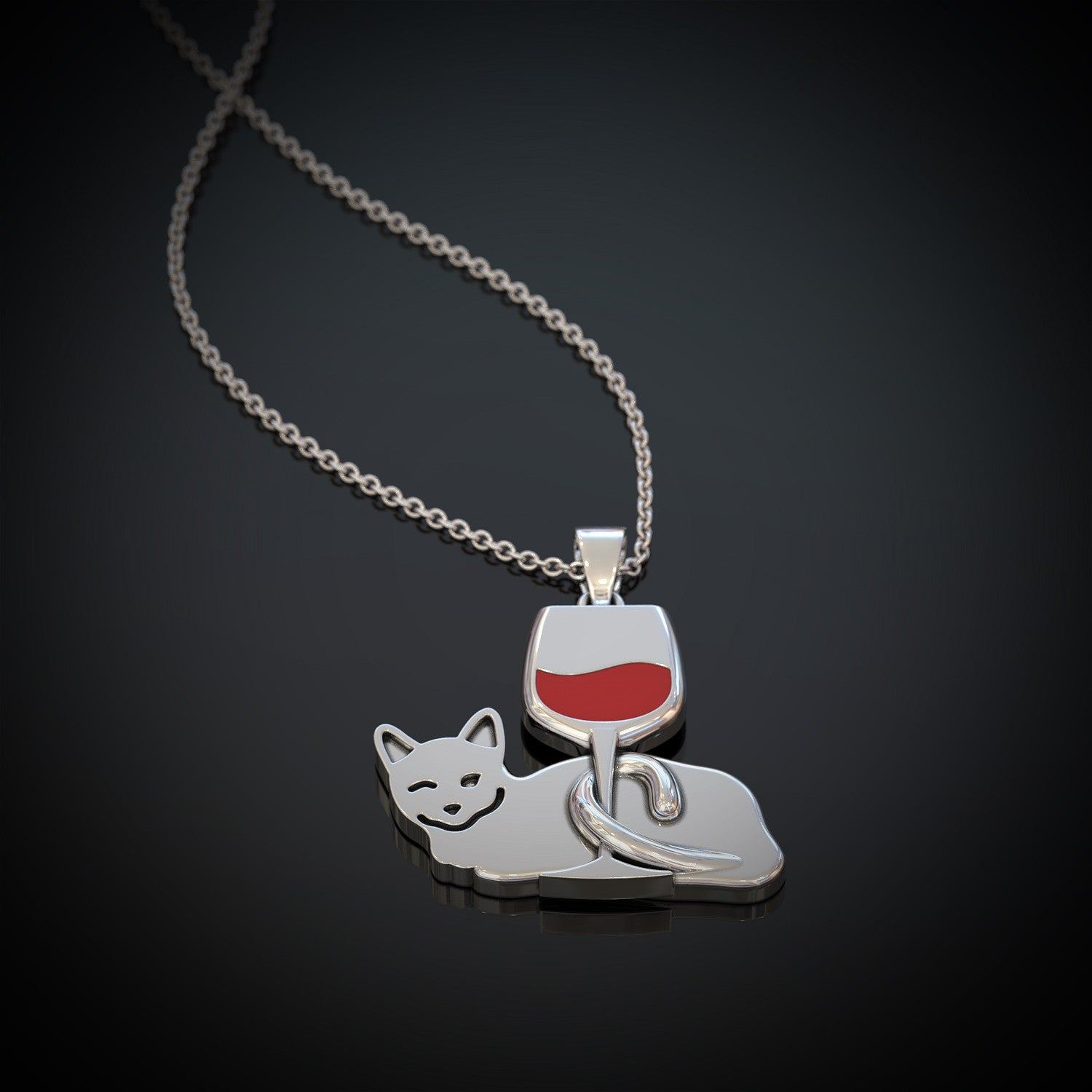 Kitty Wine Necklace