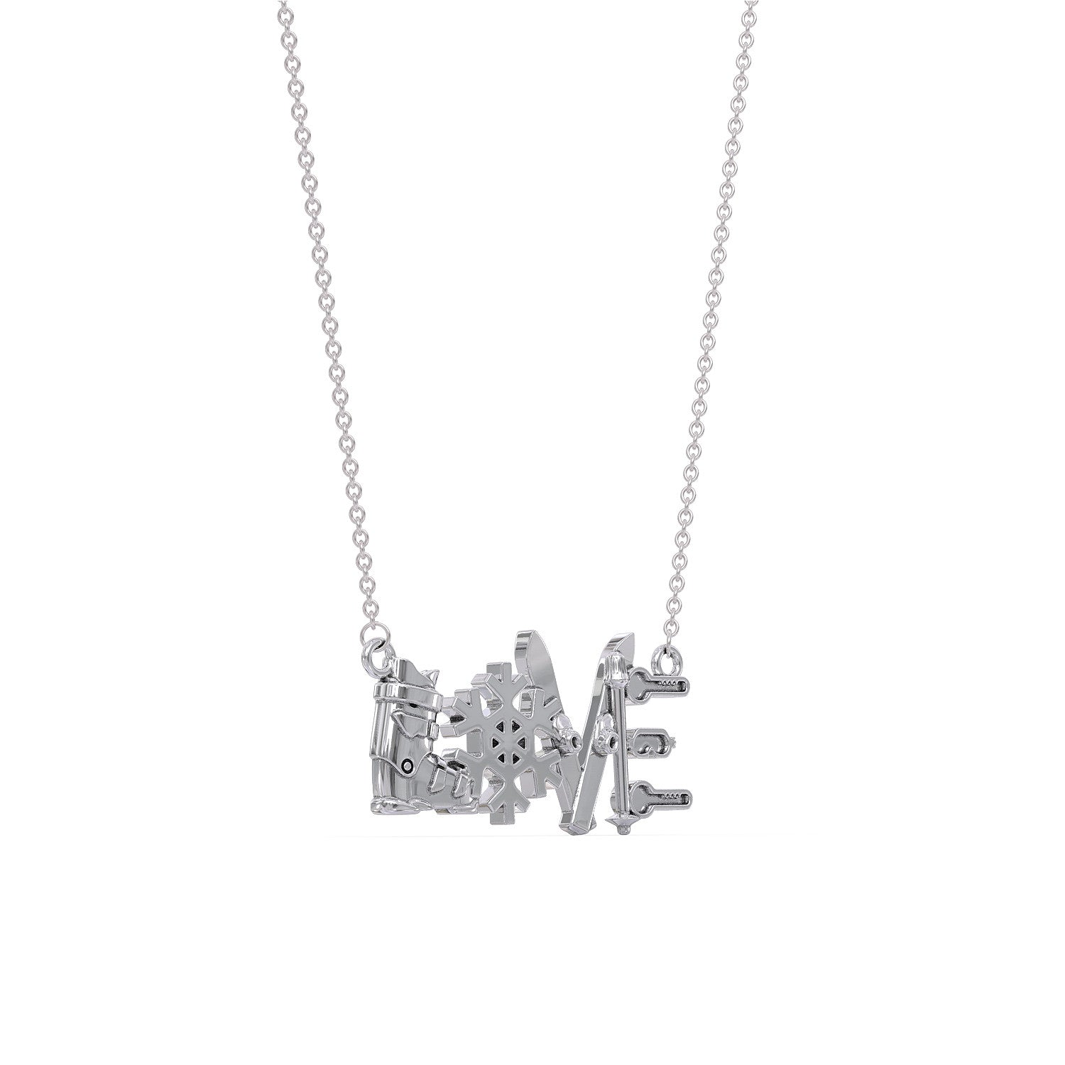 Skiing LOVE Pendant Necklace