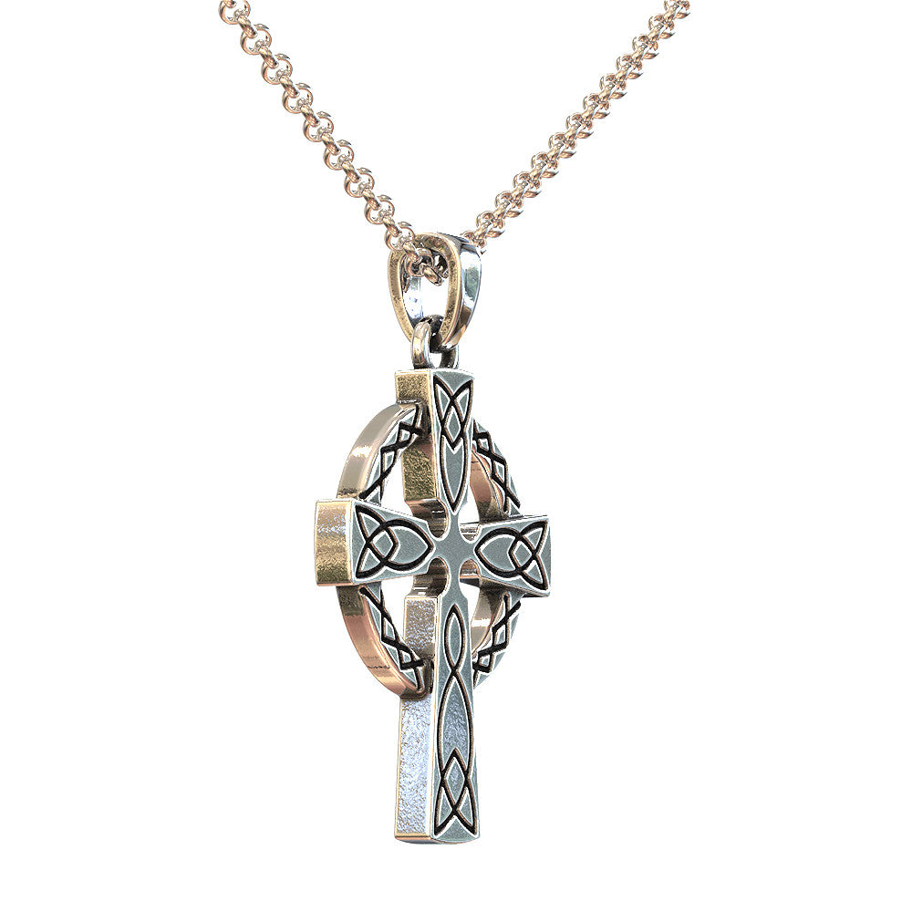 Silver and Gold Irish Claddagh Cross Pendant