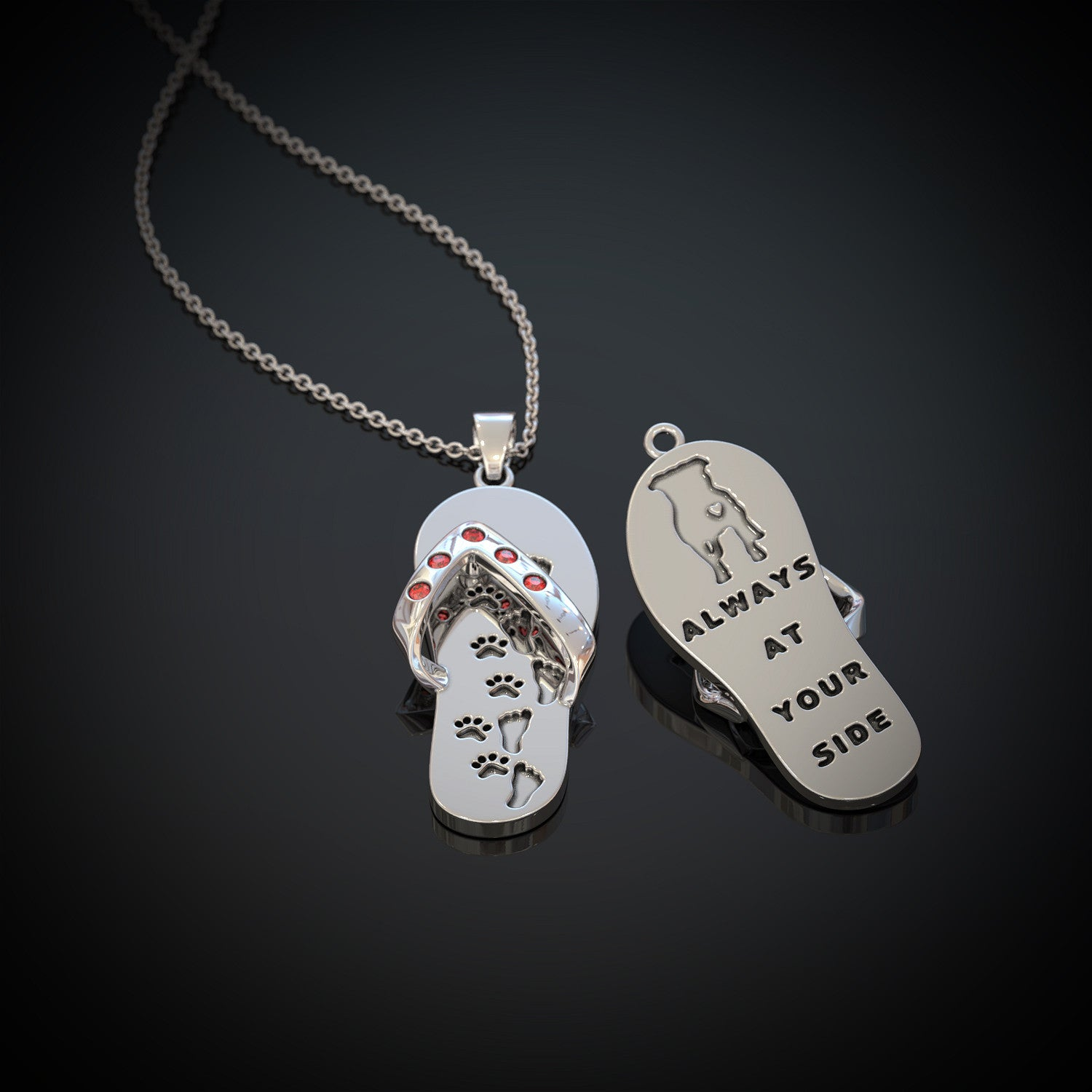 flip sterling silver side p always sandal picture your paw s print flop of pendant at