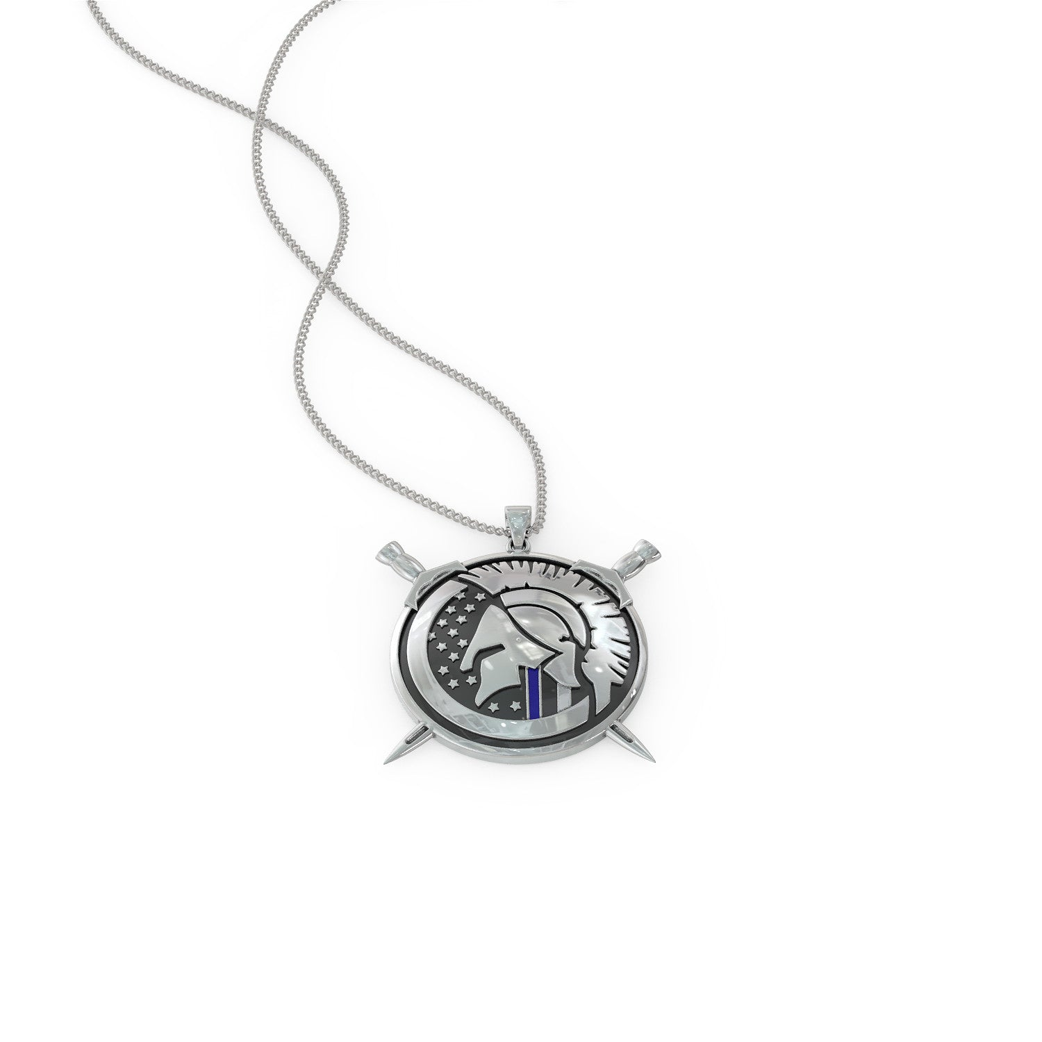 Thin Blue Line Spartan Pendant Necklace