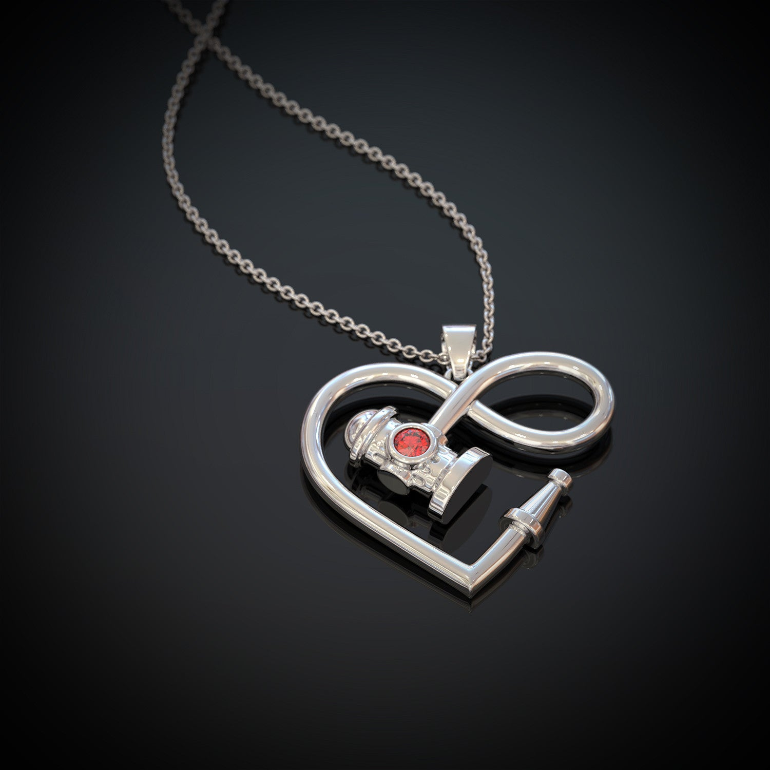 Firefighter Infinity Birthstone Necklace