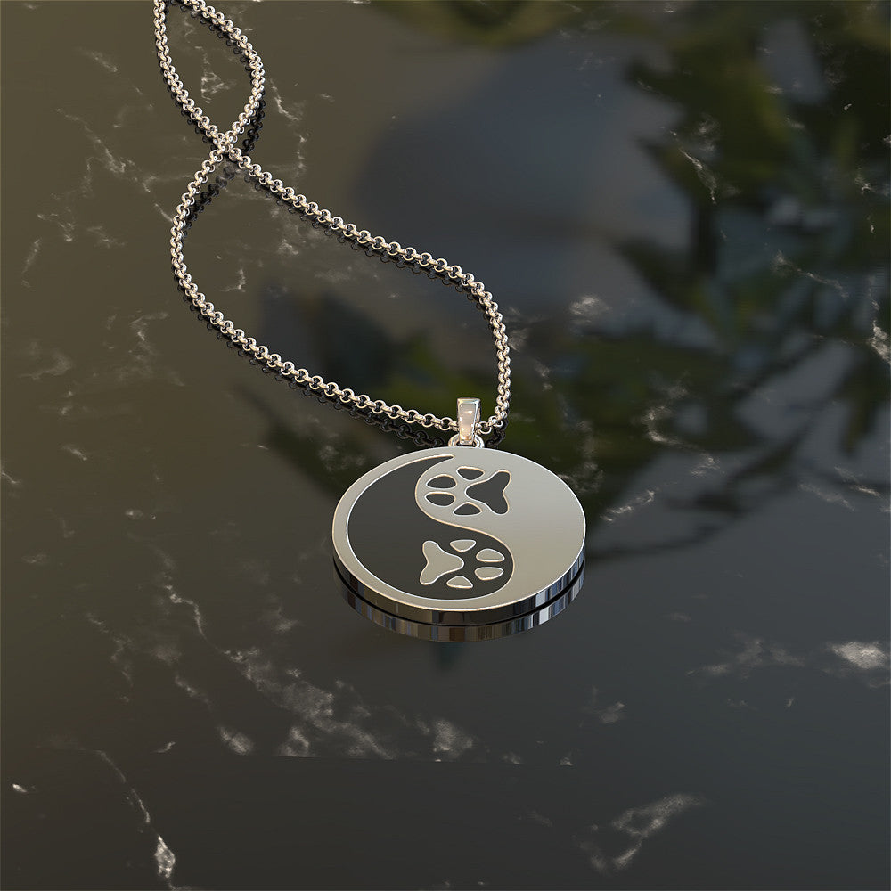 Paw Print Yin Yang Necklace