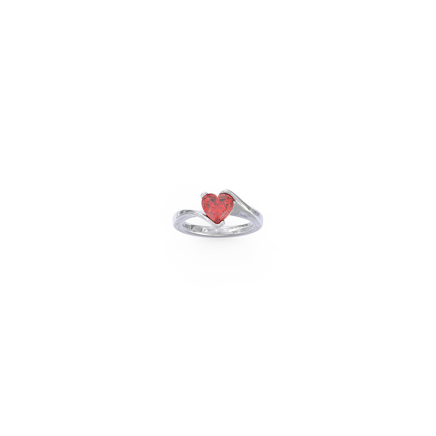 .925 Silver Heart Birthstone Ring