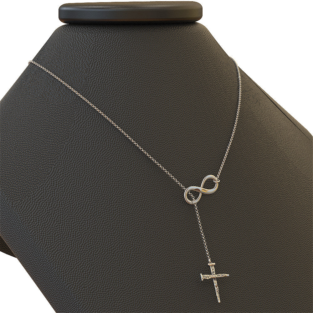 Infinity Cross With Rustic Nails Necklace