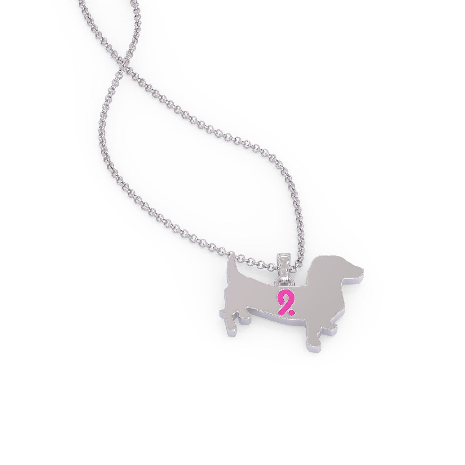 Pink Ribbon Dachshund Necklace
