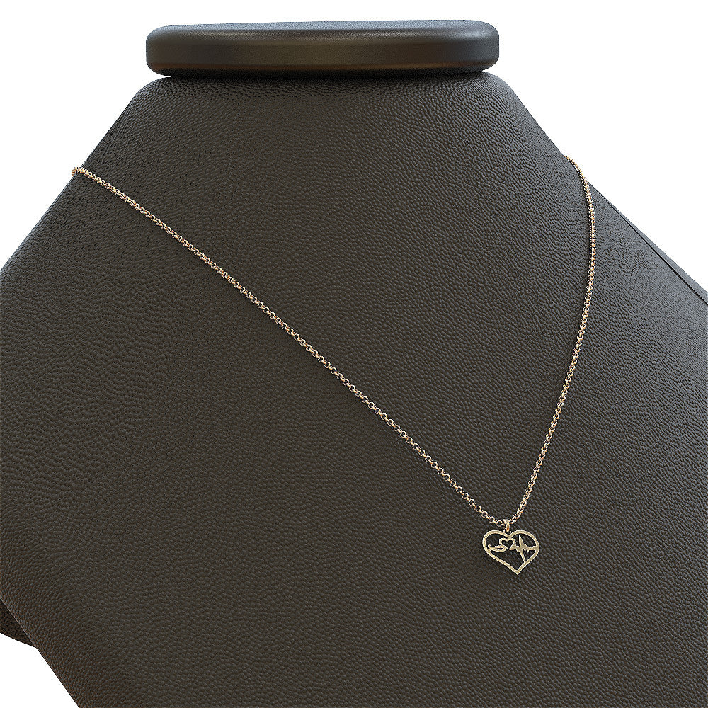 Nurse Stethoscope Heart Pendant Necklace