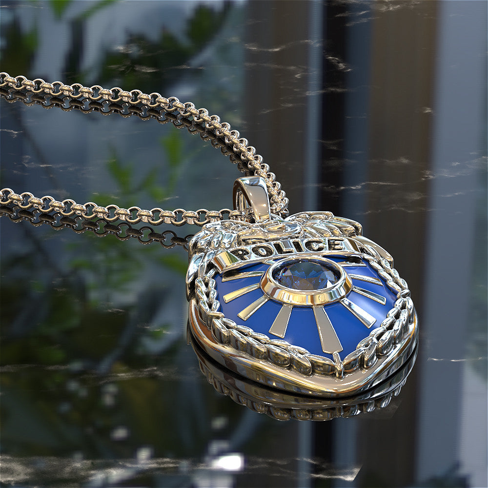 Blue Police Badge Pendant