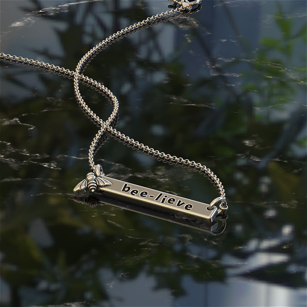 Bee-lieve Bar Pendant Necklace