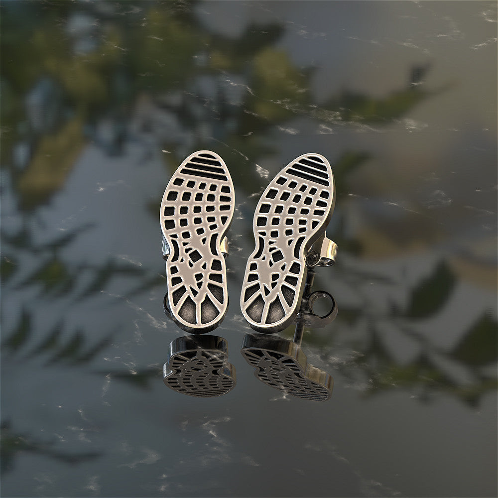 Runner Foot Print Stud Earrings