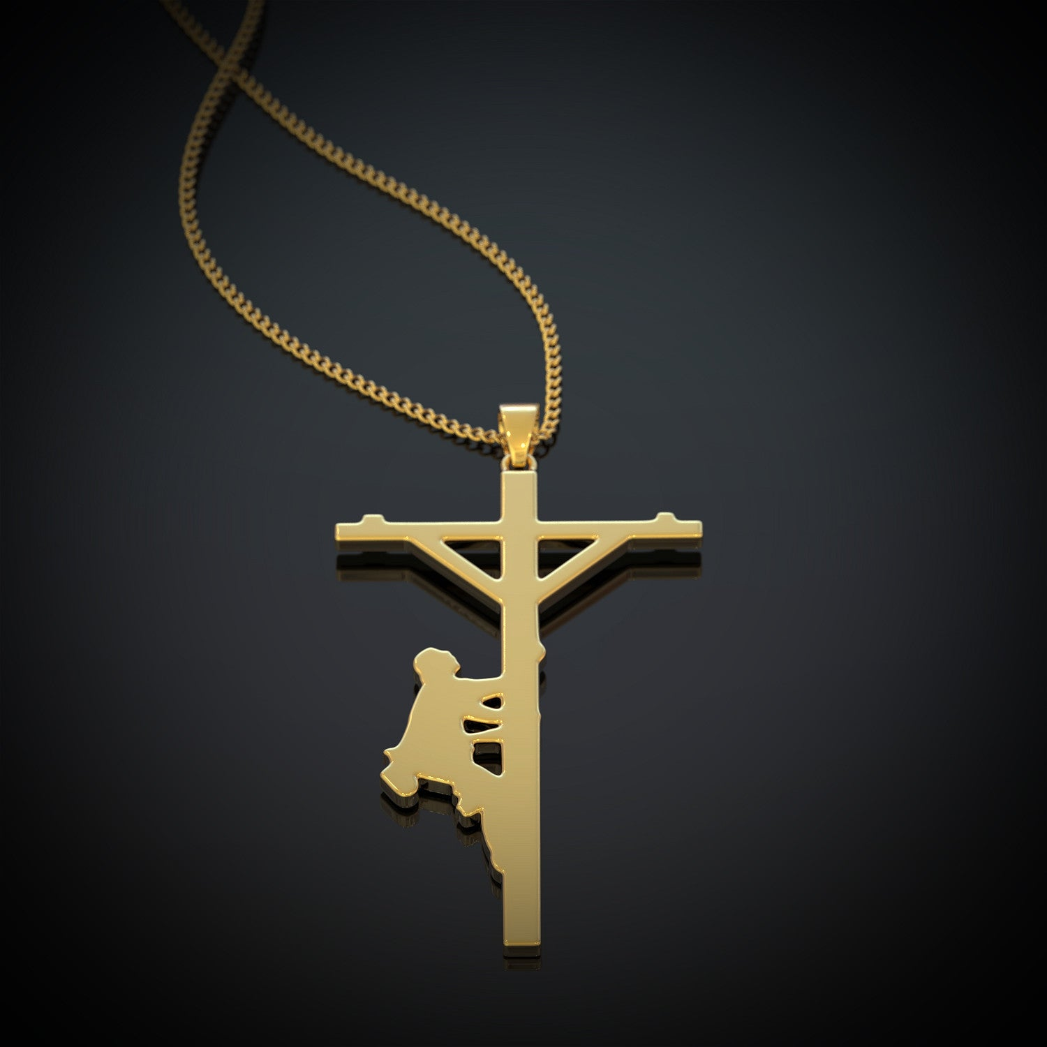 Lineman Cross Necklace All Things Through Christ