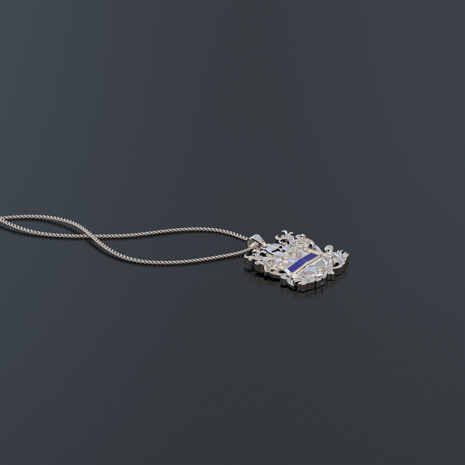Thin Blue Line Shield Pendant Necklace