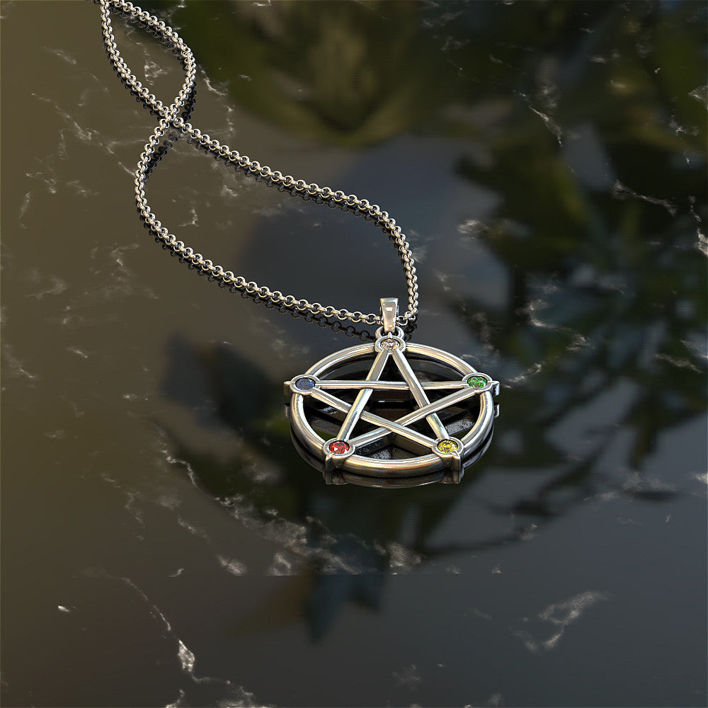 Earth Air Fire Water Spirit Wicca Necklace