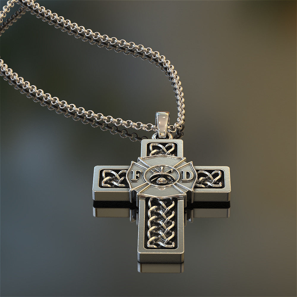 Firefighter Celtic Cross Pendant