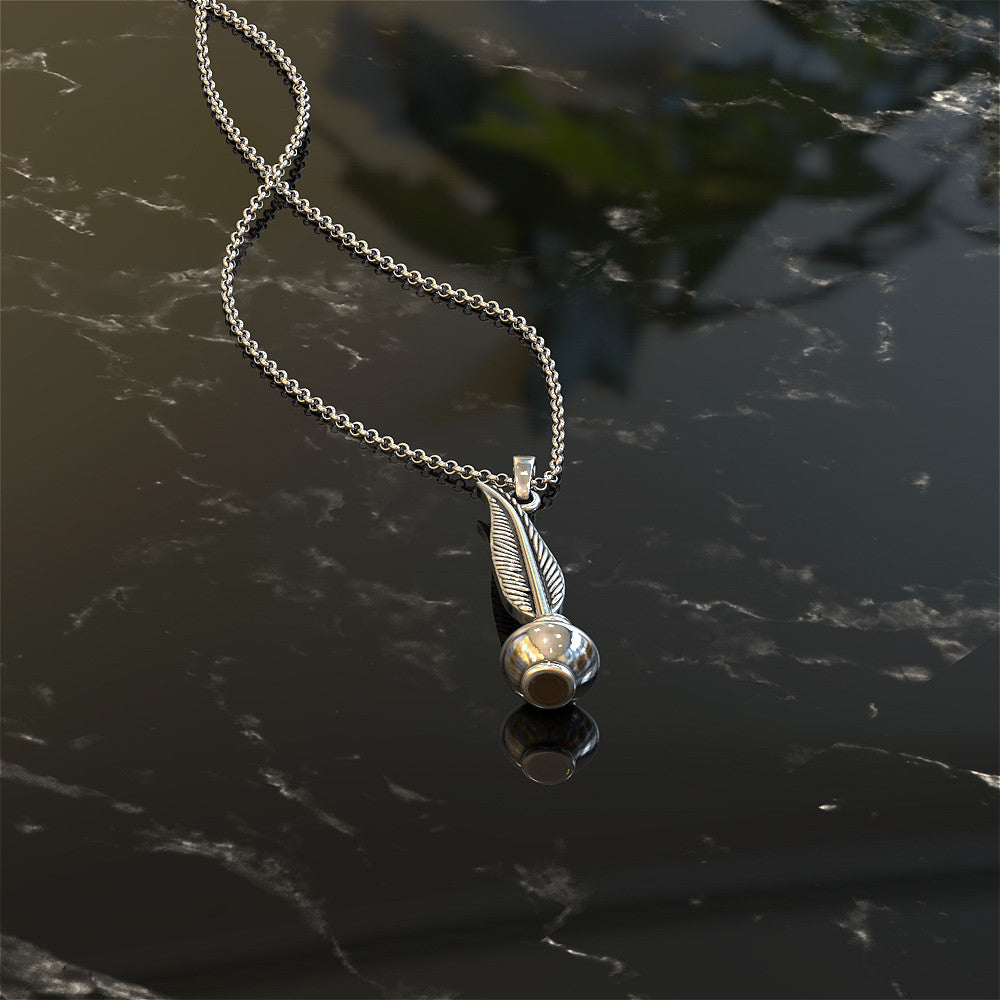 Quill Pen and Ink Bottle Necklace