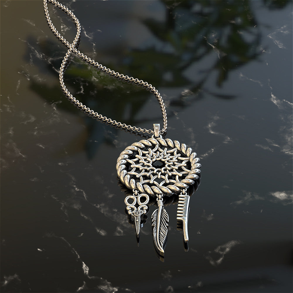 Hair Stylist Dreamcatcher Pendant - She dreamed she could so she did!