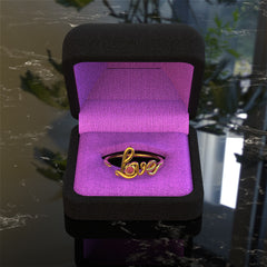 Cursive Love Birthstone Ring