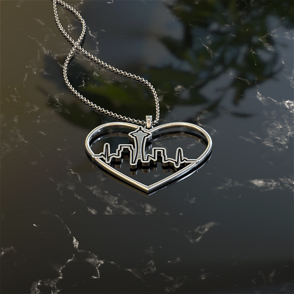 Seattle Skyline Love Necklace