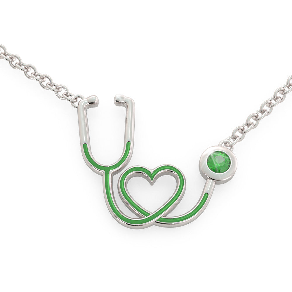 Stethoscope - Birthstone Necklace (.925 silver)