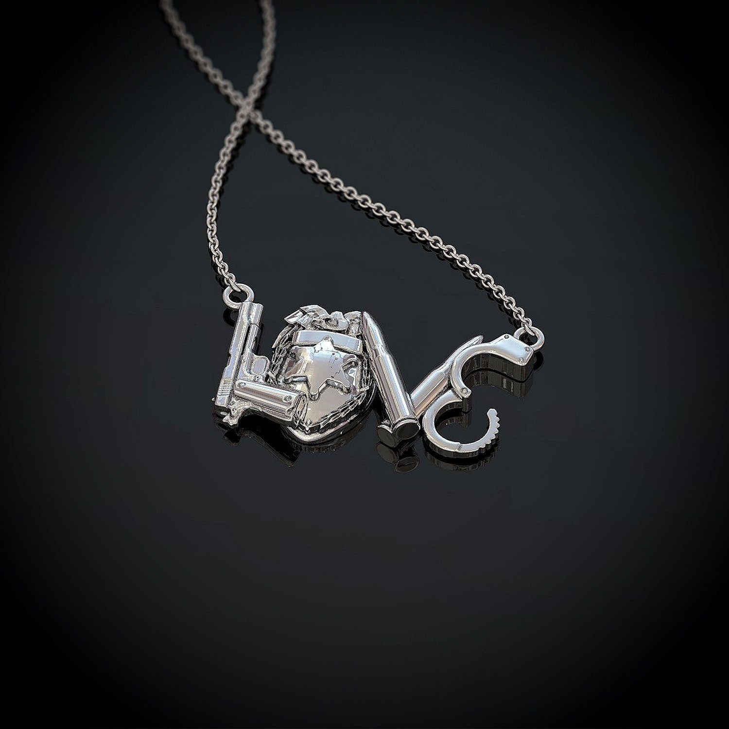 Police LOVE Pendant Necklace