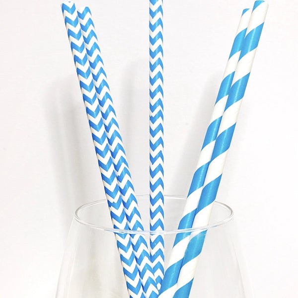 Blue & White Striped Paper Straw Toppers