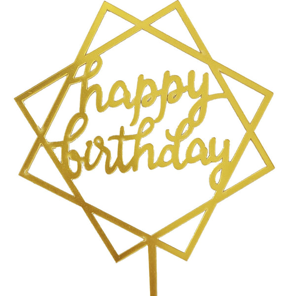 Acrylic Gold Rockstar Happy Birthday Cake Topper